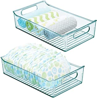 "mDesign Wide Storage Organizer Container Bin, Handles for Kids/Child Supplies in Kitchen, Pantry, Nursery, Bedroom, Playroom - Holds Snacks, Bottles, Baby Food - BPA Free, 14"" Long, 2 Pack - Sea Blue"