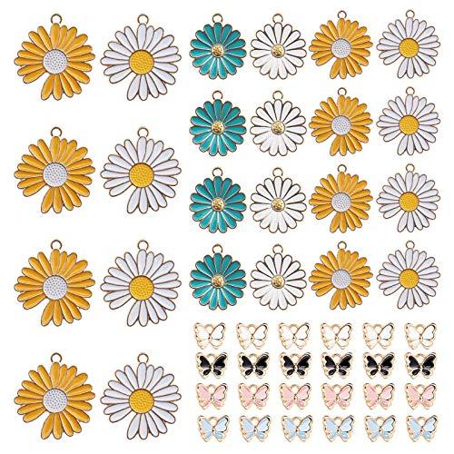Juego de 48 colgantes de aleación de margaritas de mariposa, varios dijes para manualidades, para collares, pulseras, pendientes, joyas, manualidades