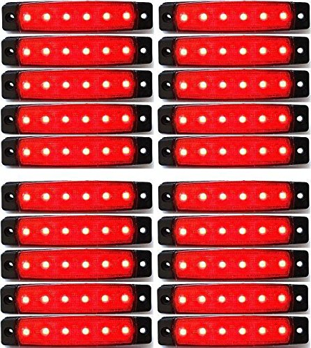 20 x 24 V LED côté arrière marqueur Rouge lumières Camion Remorque Chassis Camper
