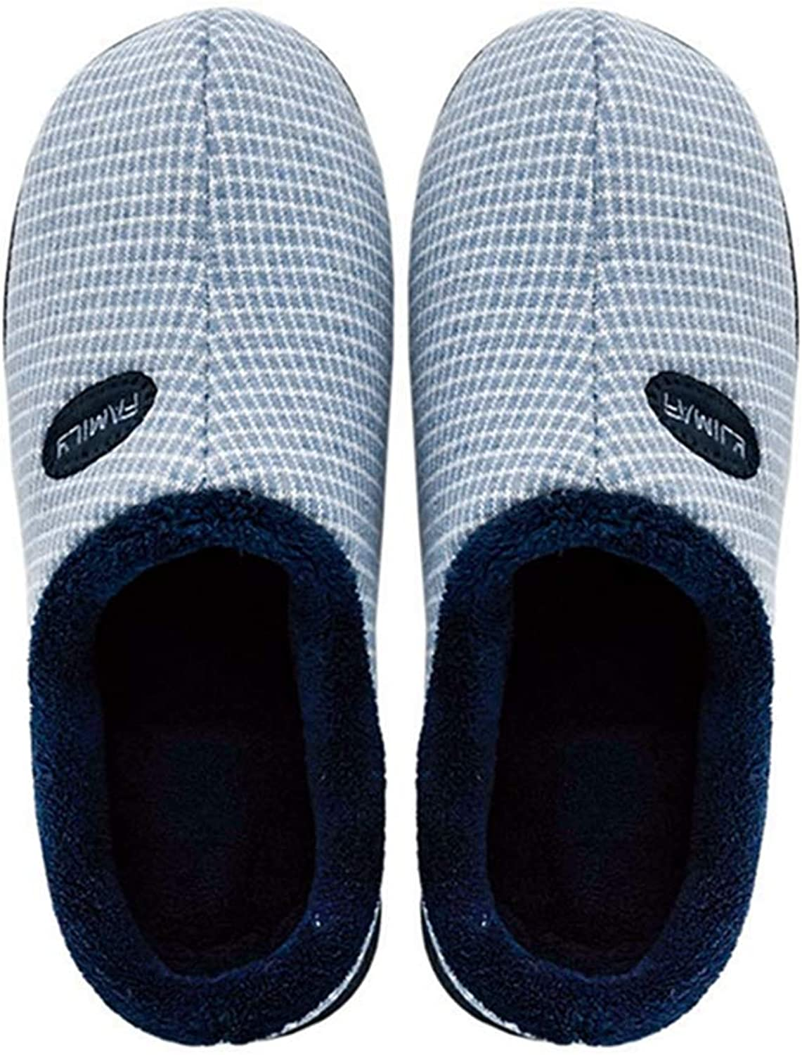 FAY WATERS Women's Couple Comfort Cotton Slippers Plaid Plush Lining Slip-on Mute House shoes for Indoor Use