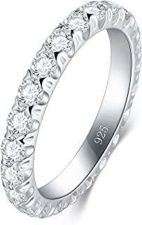 BORUO 925 Sterling Silver Ring, Cubic Zirconia CZ Wedding Band Stackable Ring 3mm