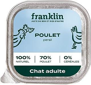 Franklin - Pâtées sans Céréales – Chat Adulte – 70% de Viande - Appétence & Hydratation - Poulet, Persil – 32x100g