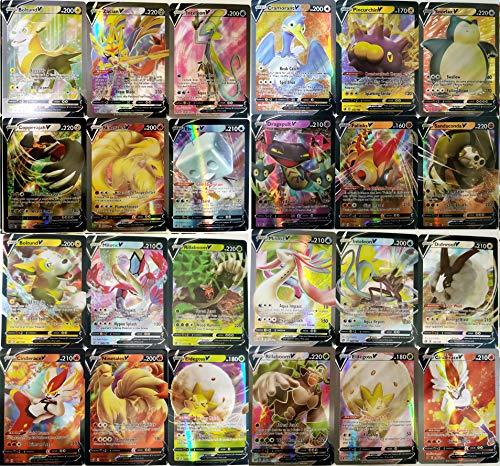 Flyglobal 100 Stück Karten für Pokemon, Sammelkarten Set 49 V + 11Vmax Karten 39 Tagteam 1 GX Kinder Cards