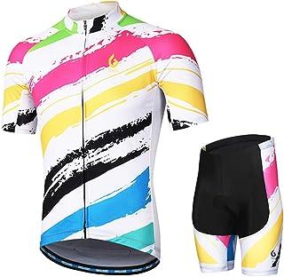 Equipaci/ón de ciclismo para mujer camiseta de manga corta pantal/ón corto con almohadilla 3D para sill/ín GWELL
