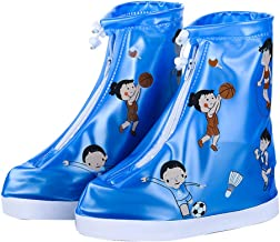 LIOOBO Kids Rain Shoe Cover With Elastic Strip And Zipper Anti-Slippery For Children (Blue-L)