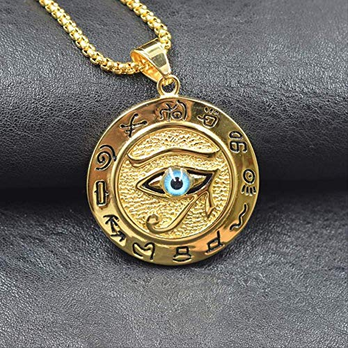 n a Hip hop Ancient Egypt Round Jewelry Collares Gold Color Stainless Steel Chain Egyptian Eye of Horus Necklaces & Pendants