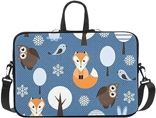 Winter Forest Animal Owl Fox Bird Rabbit Pattern Briefcase Laptop Bag Messenger Shoulder Work Bag Crossbody Handbag for Business Travelling
