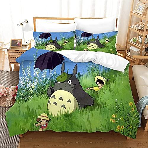 Juego de Ropa de Cama con 3D de Almohada Funda Nórdica Mi Vecino Totoro Single(135X200 Cm), 2 Piece Set 1 Piece Quilt Cover + 1 Piece Matching Pillowcase
