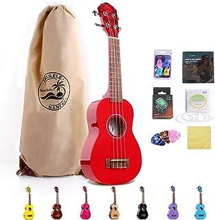 Soprano Ukulele 21 inch Mahogany Electric Rainbow Uke,Mini Kids Guitar Hawaiian ukelele Instrument Kit ukalalee for Beginn...