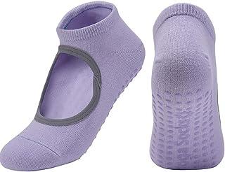 BXGZXYQ, BXGZXYQ Yoga Mujer Calcetines Yoga Deportes Danza Antideslizante Gimnasio Interior Calcetines del Piso (Color : Purple)