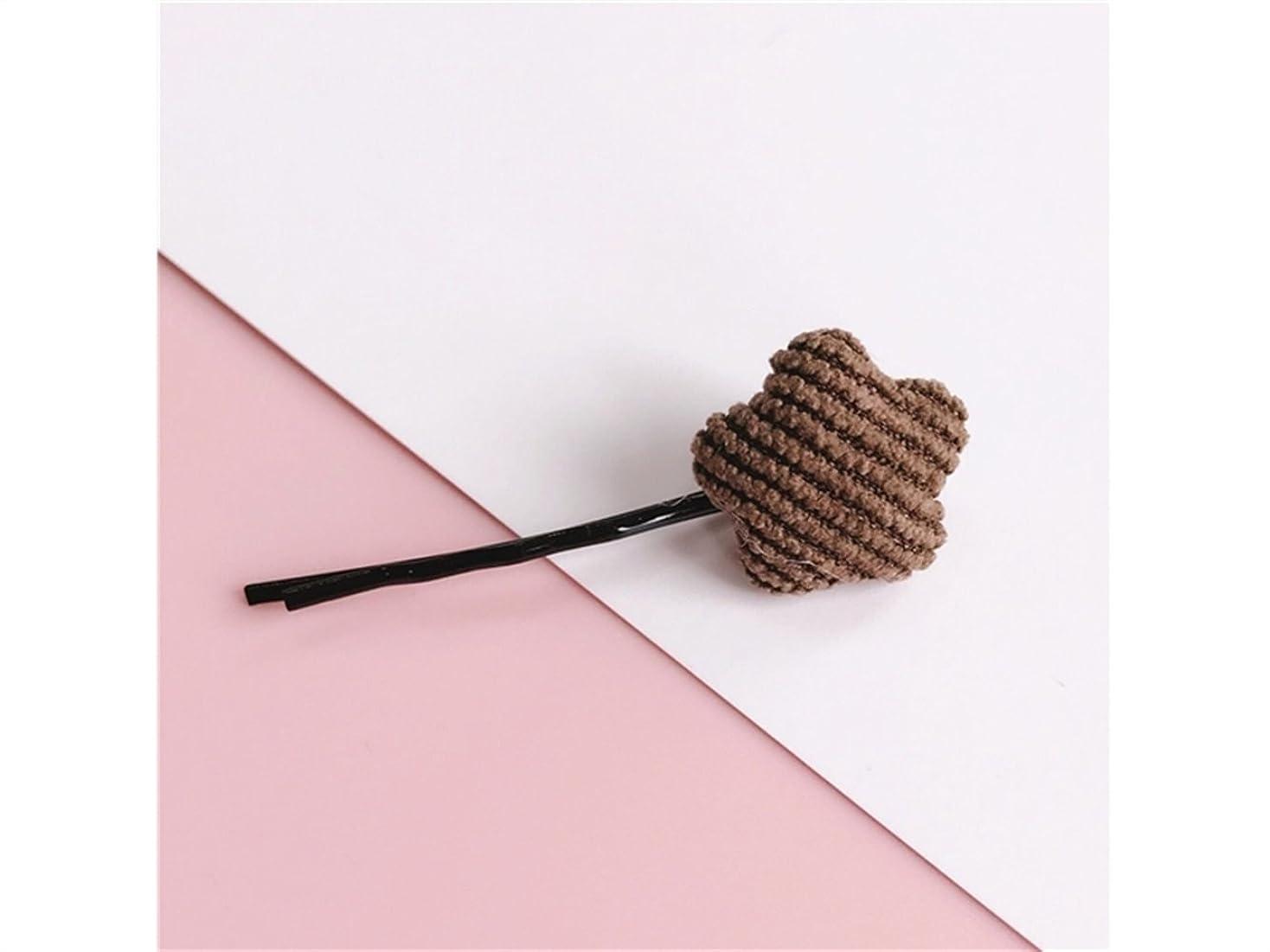 温度バイナリ線Osize 美しいスタイル ペンタグラムフラワーラブシェイプストライプヘアクリップワンワードクリップヘアアクセサリー(コーヒーペンタグラム)