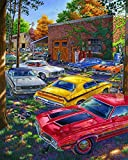Diy Oil Painting, Painted by Children's Digital Kit -Red Yellow White Cars,16''X20''