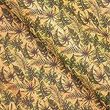 Grünes Plantain Blätter Muster Kork Leder Stoff COF-259,