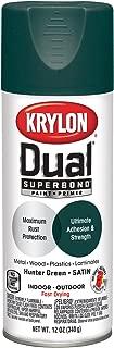 Krylon K08827007 'Dual' Superbond Paint and Primer, Satin Hunter Green, 12 Ounce