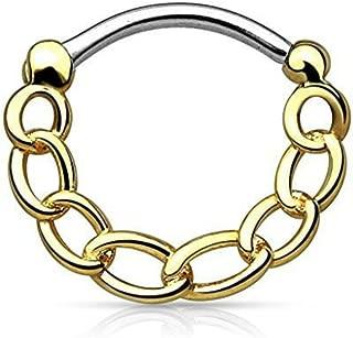 Inspiration Dezigns Chain Septum Clicker 16G Nose Ring Hoop Body Piercing