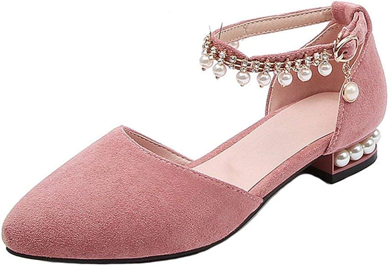 Fashion shoesbox Women's Pearl Fringe Flat Sandals Pointed Close Toe Comfort Low Heel Bohemian Summer Dress Sandals