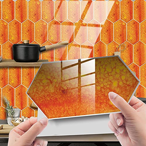 Hiser 24/48 Piezas Rectángulo Adhesivos Decorativos Azulejos Pegatinas para Baldosas del Baño, Mármol Mosaico Estilo Cocina Resistente al Agua Pegatina de Pared (Naranja,24Piezas)