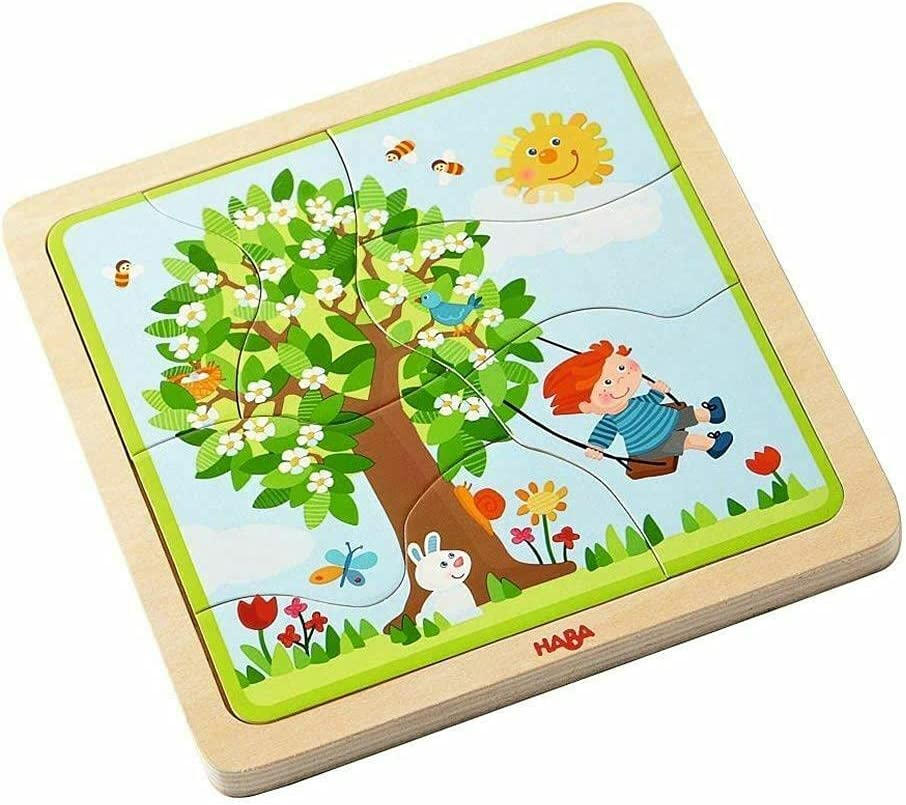 HABA Wooden Puzzle My time of Popular brand Year Portland Mall Ea One Four Layers for with -