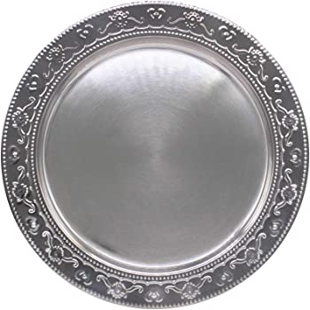 13-Inch Stainless Steel Charger Plates, 6Pcs Silver Dinner Plate Chargers Round Server Ware