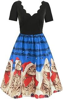 Yivise - Abito da donna vintage con scollo a V, motivo gatto con note musicali, stampa a linea svasata