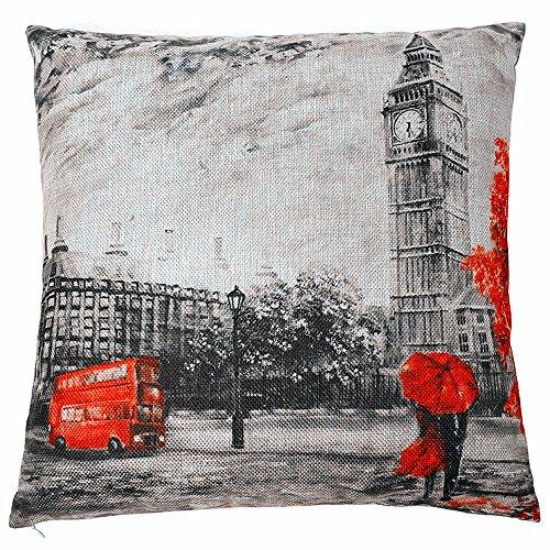Acelive - Funda de cojín decorativa de 50,8 x 50,8 cm, mezcla de lino y algodón, estilo occidental, diseño con texto 'Love is in London'