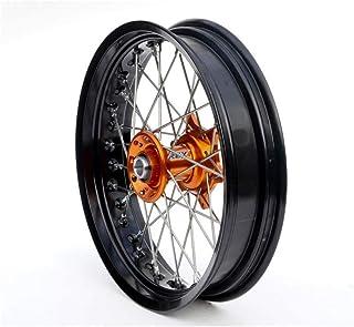Motodak voorwiel, compleet, Art SM, 17 x 3,50 x 36t, velg, zwart/oranje/spaken, zilver/spaakkoppen