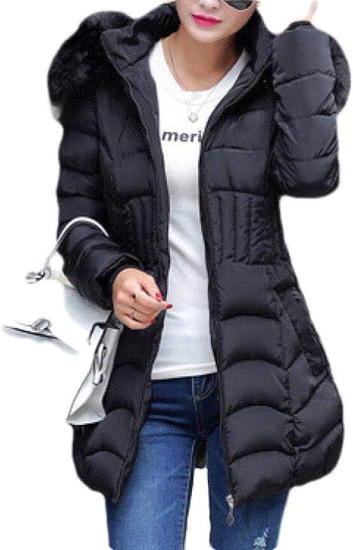 Yhsuk Women Faux Fur Hoodie Slim Fit Mid Length Long Puffer Down Jacket