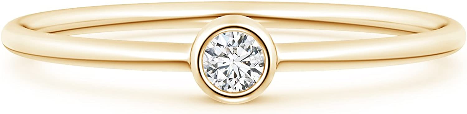 Solitaire Lab gift Created Round Diamond Stackable in Ring 100% quality warranty! Solid 14k