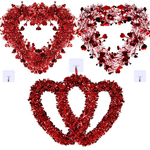 Winlyn Set of 3 Assorted Tinsel Heart Wreaths Valentine's Day Red Tinsel Foil Heart Shaped Wreaths...