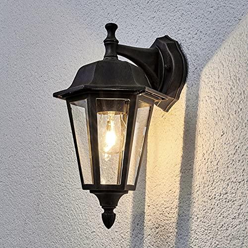 Lindby Wandleuchte außen 'Lamina' (spritzwassergeschützt) (Retro, Vintage, Antik) in Braun aus Aluminium (1 flammig, E27) - Außenwandleuchten, Wandlampe, Led Außenlampe, Outdoor Wandlampe für