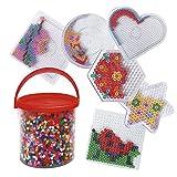 Playbox Bügelperlen-Set - Perlenbilder bügeln - mit Steckplatten, Motiv-Vorlagen & Perlen - Kinder-Spielzeug - ideale Selbstbeschäftigung - bunt