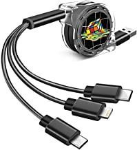 Multi Charger Cable 3 in 1 Colorful Rubik\\\'s Cube Type-C, Micro USB Universal 3 in 1 Multiple USB Charging Cable Cord Adapter Fast Charging Data Transmission Cable Line