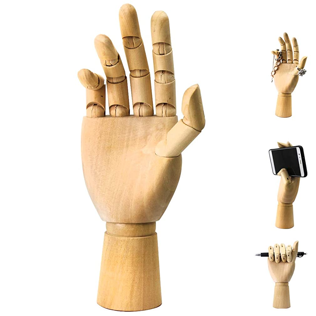 Wood Art Mannequin Hand Model Statue,Sketching, Painting, and More Pen Holder/Phone Holder-(Female Hand) 10 inch (Right, 10 inch)