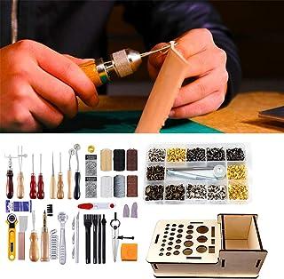 XDXDO Kit D'outils D'artisanat en Cuir, Kit D'estampage en Cuir, Kit De Sculpture sur Bois, pour Les Amateurs De Bricolage...