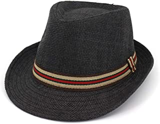 HaiNing Zheng Couple Straw Hat Outdoor Travel Sun Hat Straw Male Women Striped Color Cloth Strip Decorative Jazz Hat