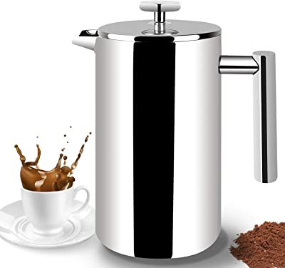 French Press Coffee Maker,Double Wall Insulation Tea Maker with Stainless Steel, Screen for Home and Office,Espresso Coffee Maker (34ounce)1000ML/8 Cups