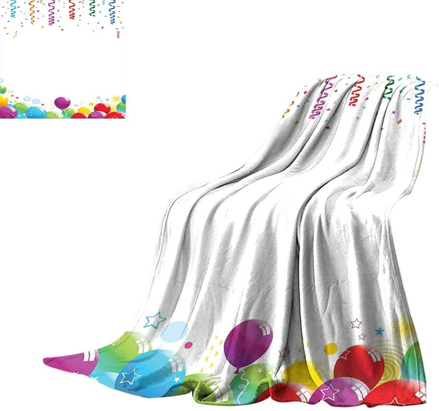 RenteriaDecor Kids Party,Throws Confetti Rain with Curls and Balloons Stars Dots Joyful Happy Greeting Concept All Season Blanket W70 x L50 inch
