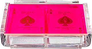 Luxe Dominoes Modern Elegant Playing Card Deck Holder Tray with 2 Decks of Playing Cards in Unique Stylish Deluxe Acrylic Box with Color lid