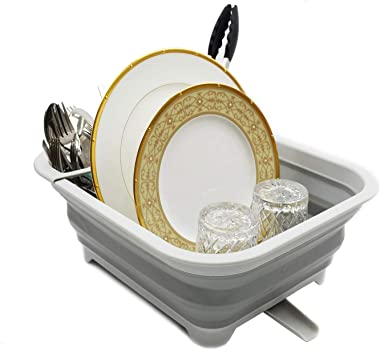 SAMMART Collapsible Dish Drainer with Swivel Spout - Foldable Drying Rack - Portable Dinnerware Organizer - Space Saving Kitc