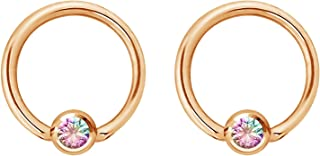 Pair 14g-20g Gold & Rose Gold Tone Surgical Steel CZ Gemmed Captive Bead Body Piercing Hoops (2pcs)