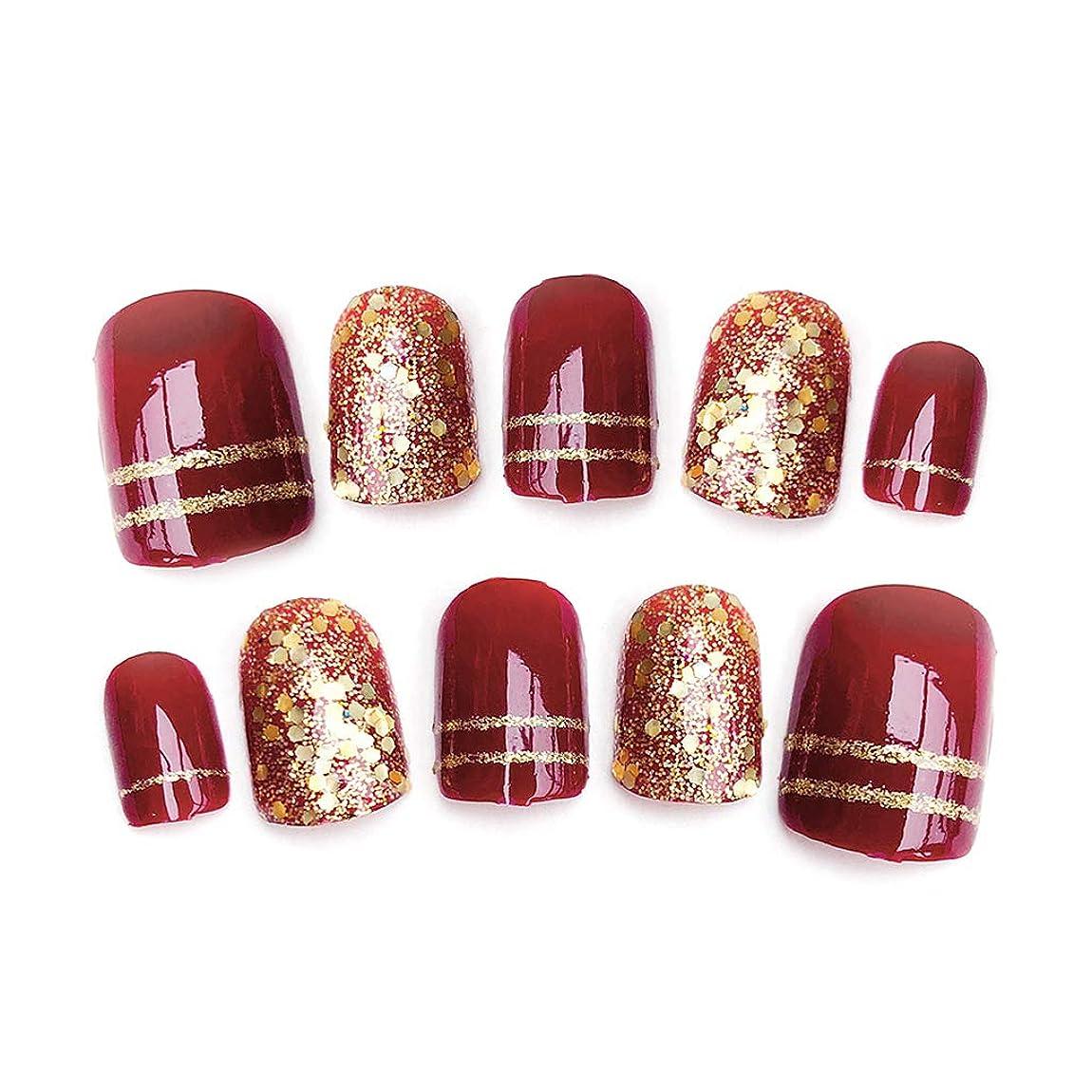 彼らは安西有効なrousZL ネイルステッカー レース,24ピース光沢のある赤い偽指爪光沢のある花嫁結婚式ショートデザイン偽ネイルアートのヒント