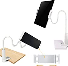 SRMATE 2 in 1 Gooseneck Tablet Holder, Cell Phone Stand with Flexible Long Arm for iPad,iPhone,Samsung Tabs,Kindle Fire HD,Nintendo Switch, for Bed,Desk,Office,Desktop,Kitchen (White)