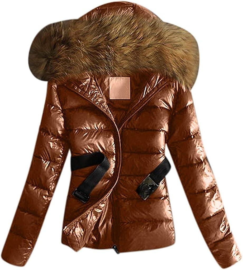Bravetoshop Women Quilted Short Warm Winter Coat Fur Trim Plush Hood Jackets Outwear with Belt