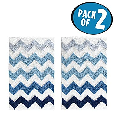 mDesign Soft Microfiber Polyester Non-Slip Rectangular Spa Mat Rug, Plush Water Absorbent, Chevron Pattern - for Bathroom Vanity, Bathtub/Shower, Machine Washable - 34  x 21  - Pack of 2, Blue Ombre