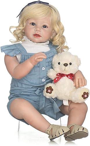 Gugutogo 28-Zoll-Ganz -Weißes Silikon-Vinylbaby - Puppe ungiftiges sicheres Spielwaren handgemacht