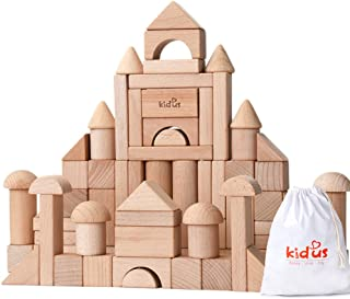 KAJA Classic Wooden Building Blocks Sets 80 Pcs Blocks for Toddlers Educational Preschool Learning Toys with Carrying Bag (Burlywood)