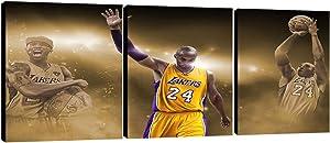 UNBRUVO 3 Panels Wall Art Kobe Bryant Posters Canvas Painting Basketball Player Kobe Bryant Wall Decor Prints Artwork Home House Decor for Basketball Fan Man Boy Gifts(36