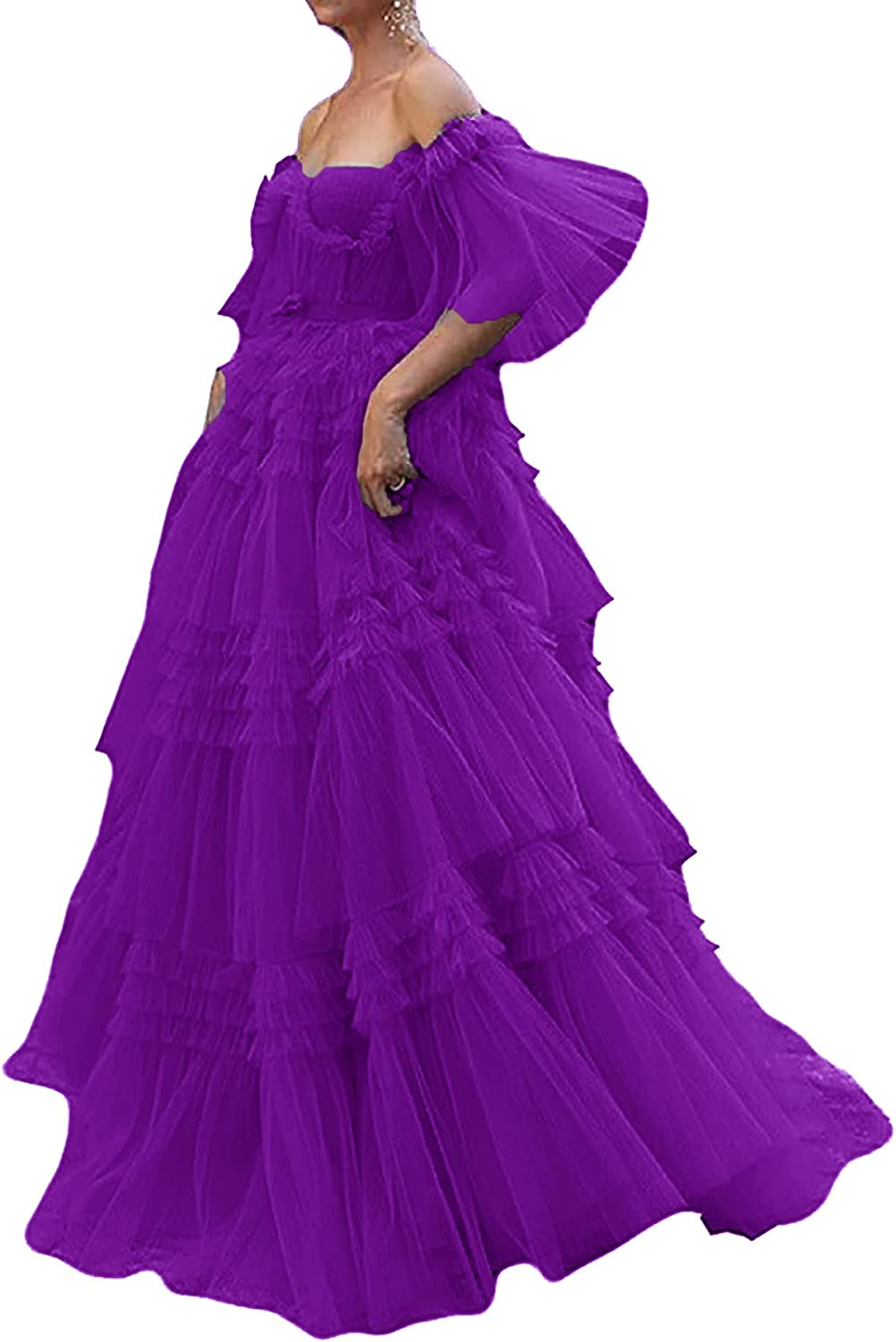Tianzhihe Off Shoulder Prom Dresses for Women Vintage Tulle Evening Gowns Puffy A-line Ball Gown Formal Party Dress