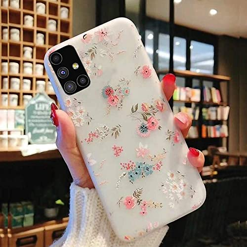 SQUIF Soft TPU 3D Relief Flower Printed Phone Back Case Cover For Samsung Galaxy M51 Mix Lilies