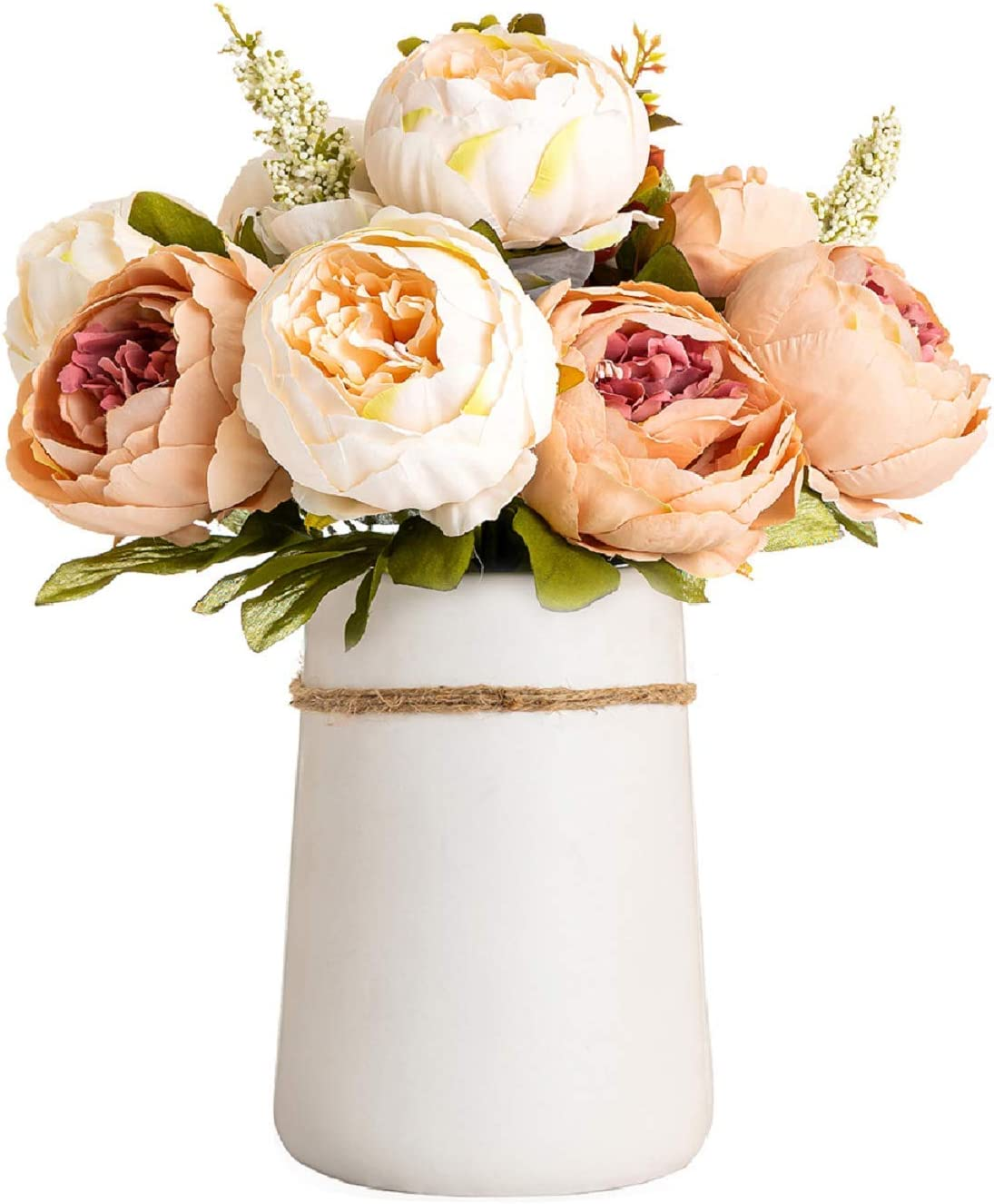 Queen Bee Super-cheap Silk Peony Bouquet with Large 5% OFF Si Included Vase Ceramic